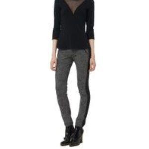 Rebecca Taylor - Black Herringbone Print Ava Pants